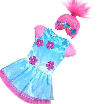 *Hot Kids GirlsTrolls Poppy Trolls Fancy Dress Costume Wig Girls Outfits 4-12 Y*