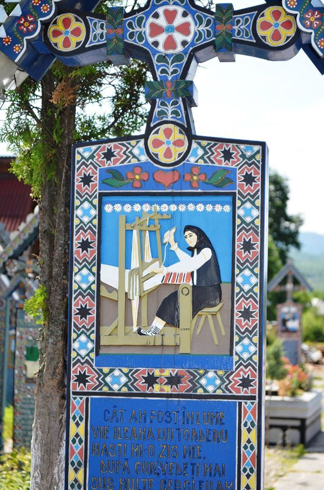 Grave marker in the Romanian village of Sapanta, in Maramures County.