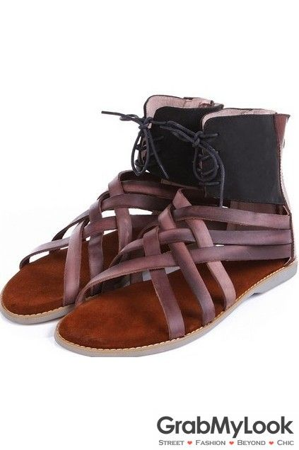 GrabMyLook Cross Brown Leather Straps Zipper Roman Gladiator Mens Ankle Sandals Flats Shoes