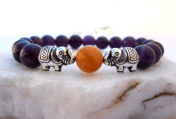 Hey, I found this really awesome Etsy listing at https://www.etsy.com/listing/160100480/elephant-amethyst-bracelet-elephant