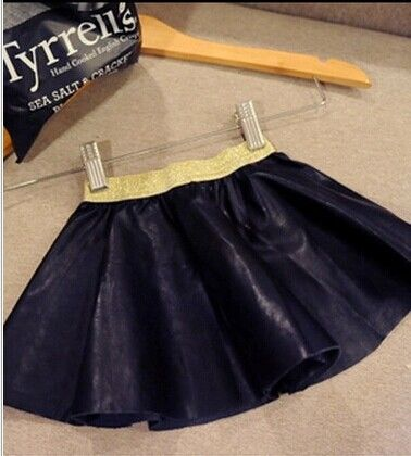 wholesale(5pc/lot)  2016 spring autumn PU leather black all-match pompon skirt for  age 2-7 child girl