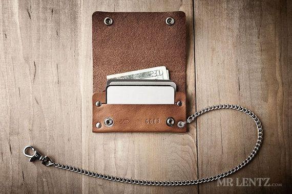 Biker Wallet Snap Wallet Leather Wallet Chain Wallet by MrLentz