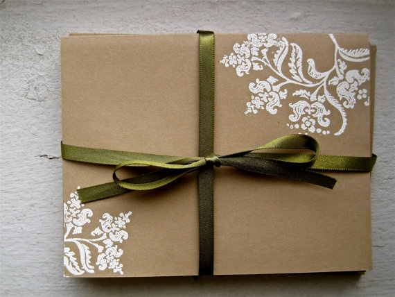khaki and white floral blank card set by papersandprints on Etsy