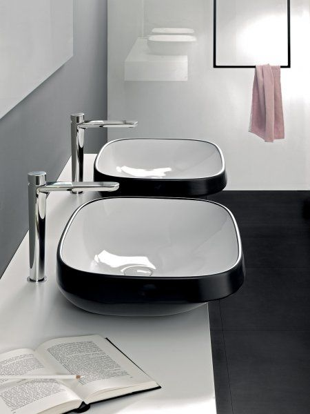 Abito surface-mounted 58 washbasin black - Production of designer sanitary appliances in ceramic, bathroom furnishings and accessories - Hatria Srl