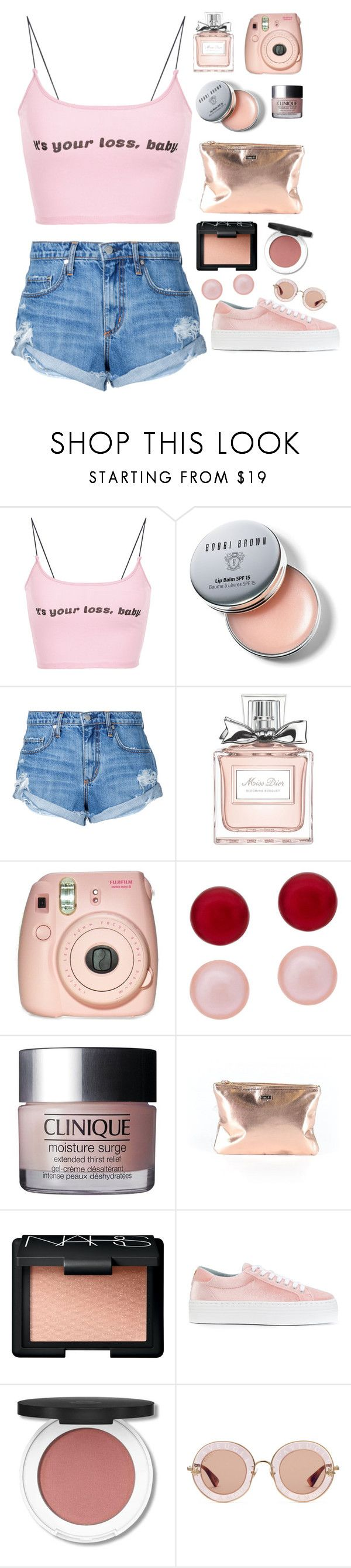 """""""It's your loss bby"""" by mode-222 ❤ liked on Polyvore featuring Bobbi Brown Cosmetics, Nobody Denim, Christian Dior, Fujifilm, Honora, Clinique, ban.do, NARS Cosmetics, Chiara Ferragni and Gucci"""