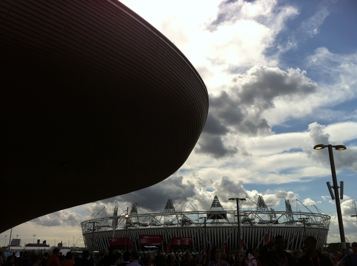 Part of the Aquatics Centre (on the left) and the Olympic Stadium