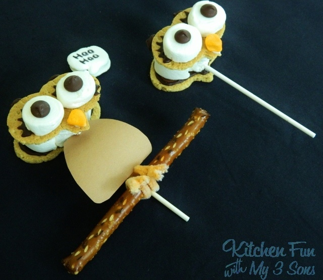 Kitchen Fun With My 3 Sons: Owl S'mores on a Stick and 20+ Other Ways to use a Pumpkin Cookie Cutter!  http://kitchenfunwithmy3sons.blogspot.com/2012/09/owl-smores-on-stick-and-20-other-ways.html  For Jenn
