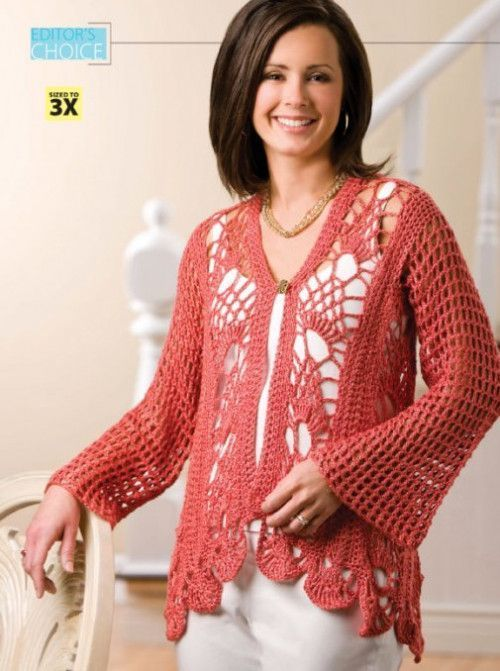 6693f582c88b6 Z200 Crochet PATTERN ONLY Coral Reef Cardigan Sweater Pattern to 3XL ...