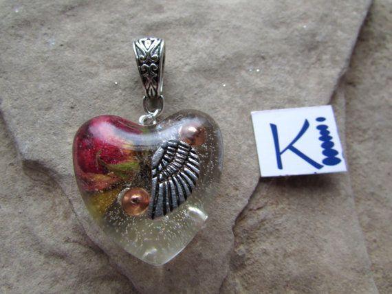 Orgone Rose Heart  Resin Pendant Angel Wing Rose Quartz John