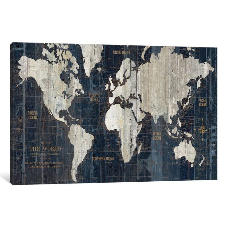 "iCanvas Old World Map by Wild Apple Portfolio Canvas Print 40"" x 26"""