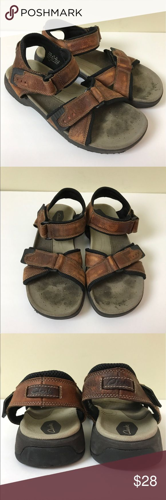 Men's Clarks Sandals Size 10 Clarks Men's sandals with adjustable Velcro straps for a perfect fit. Some fading on the leather, but it doesn't affect the integrity of the shoe. They look more worn than they really are. Clarks Shoes Sandals & Flip-Flops