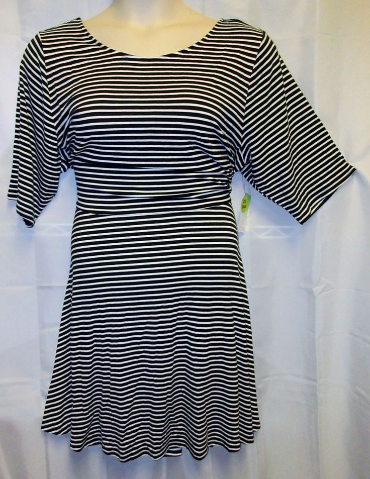NWTDecree 3xJr Dress Black White Stripe Stretch Fit Flair Scoop Back Summer  #Decree #fitflair #Casual
