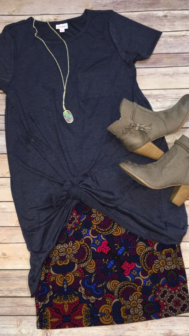 LuLaRoe Carly dress knotted over a Cassie skirt