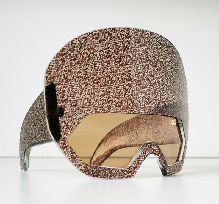 oversized visor catwalk prototype, designed and produced by General Eyewear, hand-made in England from vintage Italian acetate.