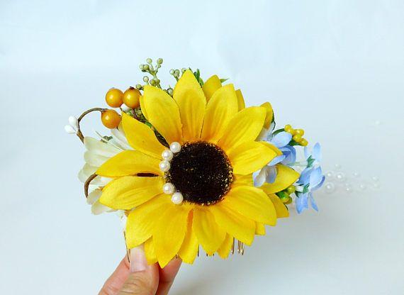 Bridal hair comb Sunflower floral crown Wedding hair halo