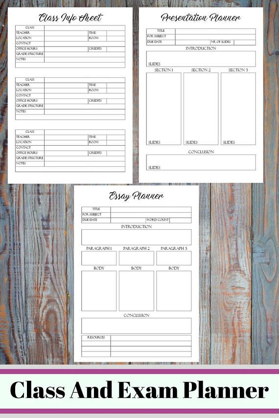 Class And Exam Printable Planner Student Survival Kit