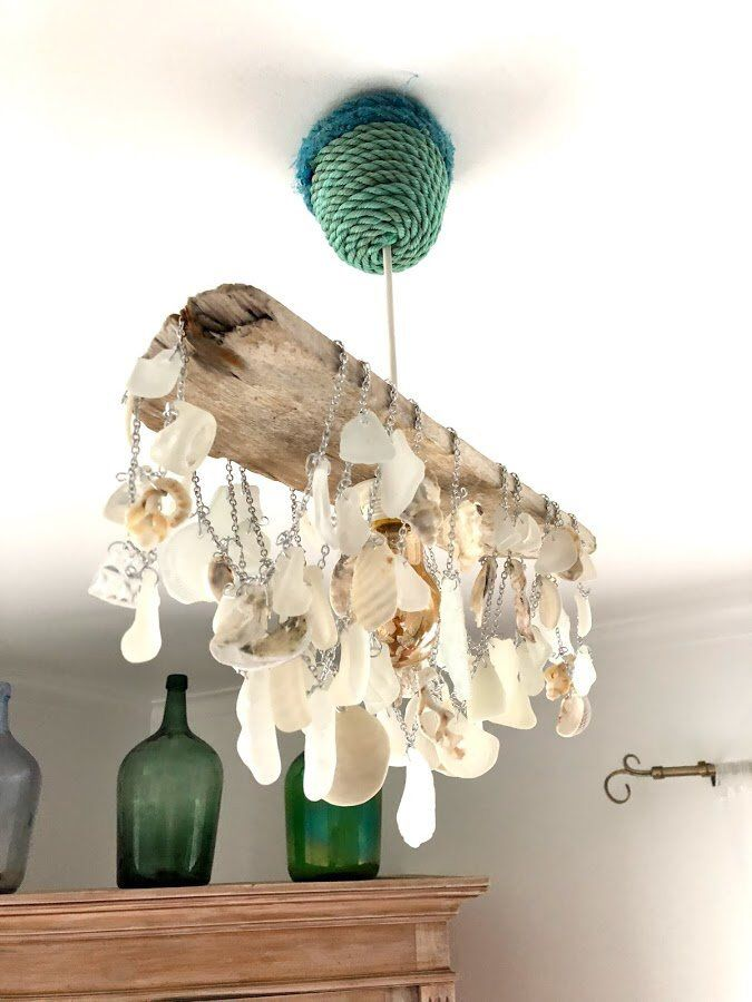 Driftwood Sea Glass And Seashell Light Fixture Handcrafted Shell