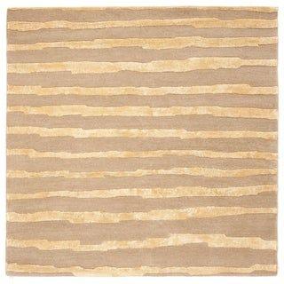 Safavieh Handmade Soho Vitaliana Stripes N.Z. Wool Rug (8' x 8' Square - Beige/Gold)