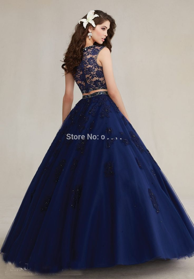 2016 High Neck Beaded Lace Appliques Prom Dress Navy Blue Sweet 16 Dress 2 Piece Quinceanera Dresses Ball Gowns-in Quinceanera Dresses from Weddings & Events on Aliexpress.com | Alibaba Group