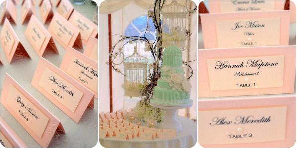 White Crafts Wedding Blog - escort cards /table plan display Peach & Sage wedding