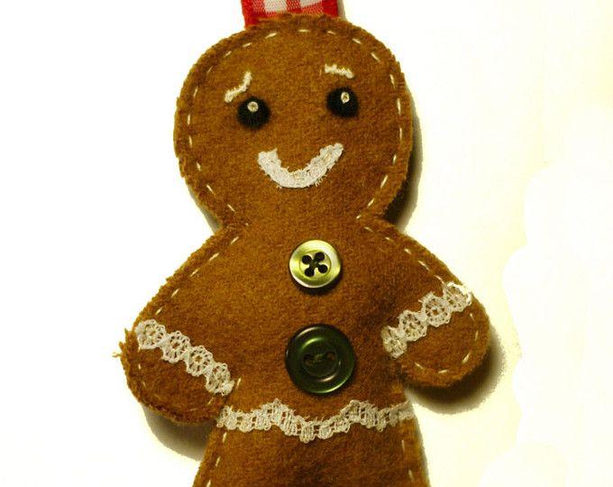 Decoración de pan de jengibre hombre, hombre de jengibre fieltro, decoración navideña