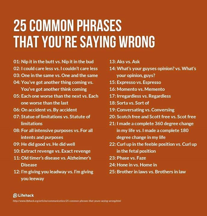 List Of Quotes: 25 Common Phrases That You're Saying Wrong