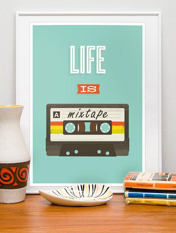 """Retro citar impresión, pop Arte cartel, 80s cassete, música, arte inspiracional, grabado, """"la vida es un mixtape"""" vivero 8 x 11"""