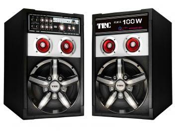 Caixa de Som Amplificadora TRC com Entrada USB - Radio FM e Microfone incluso - 100W