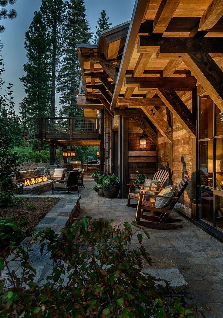 Love the stone patio *C Outdoor lounge and fireplace for the beuatiful winter cabin house