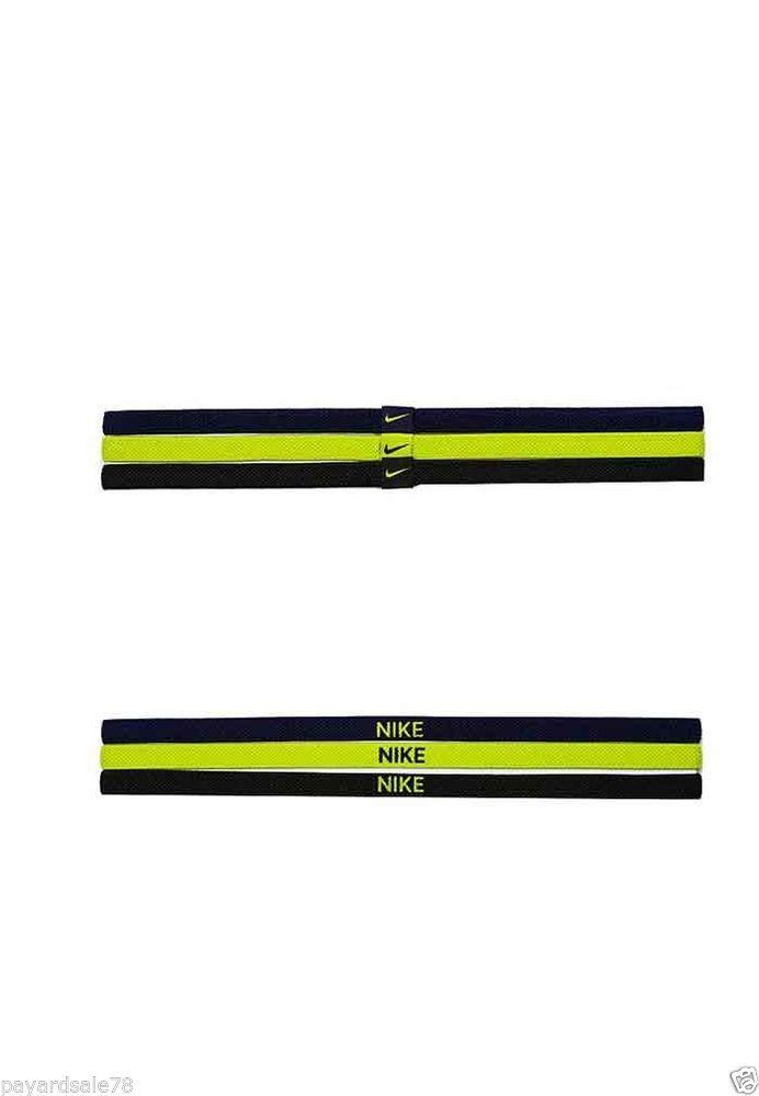NIKE ADULT ELASTIC HAIRBANDS HEADBANDS HAIR BAND HEAD SPORT 3 PACK NEON TRICOLOR