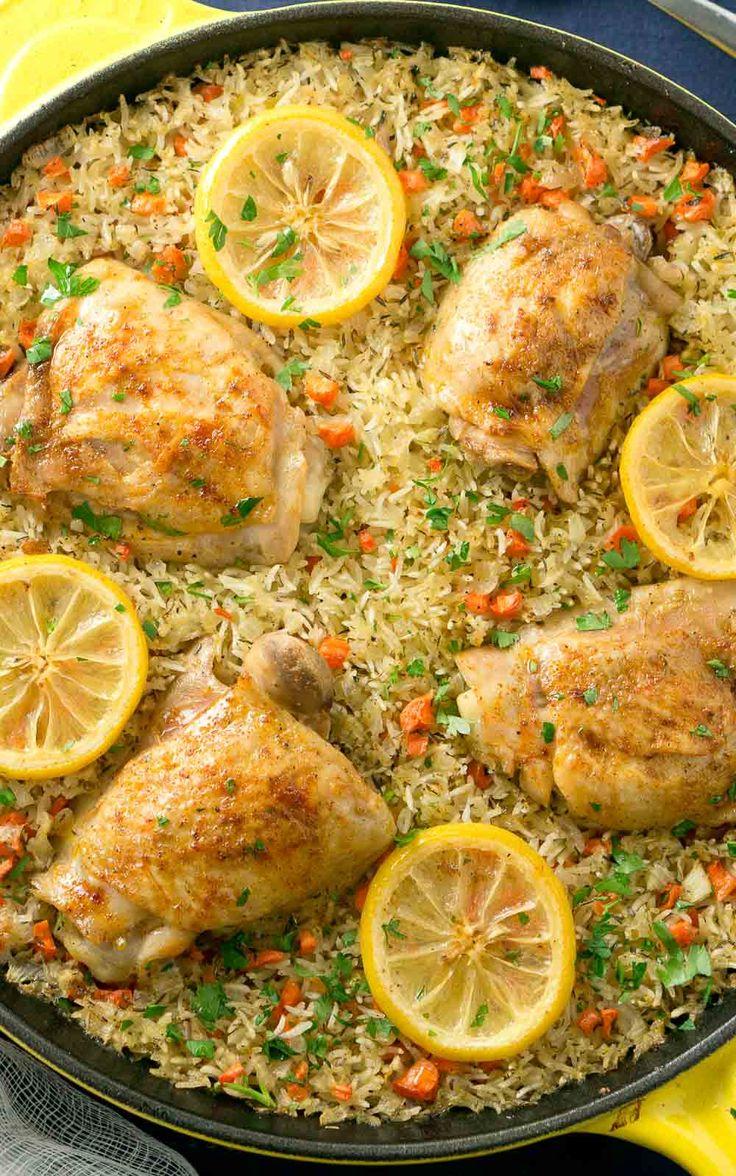 One skillet mediterranean chicken and rice recipe for Mediterranean cooking
