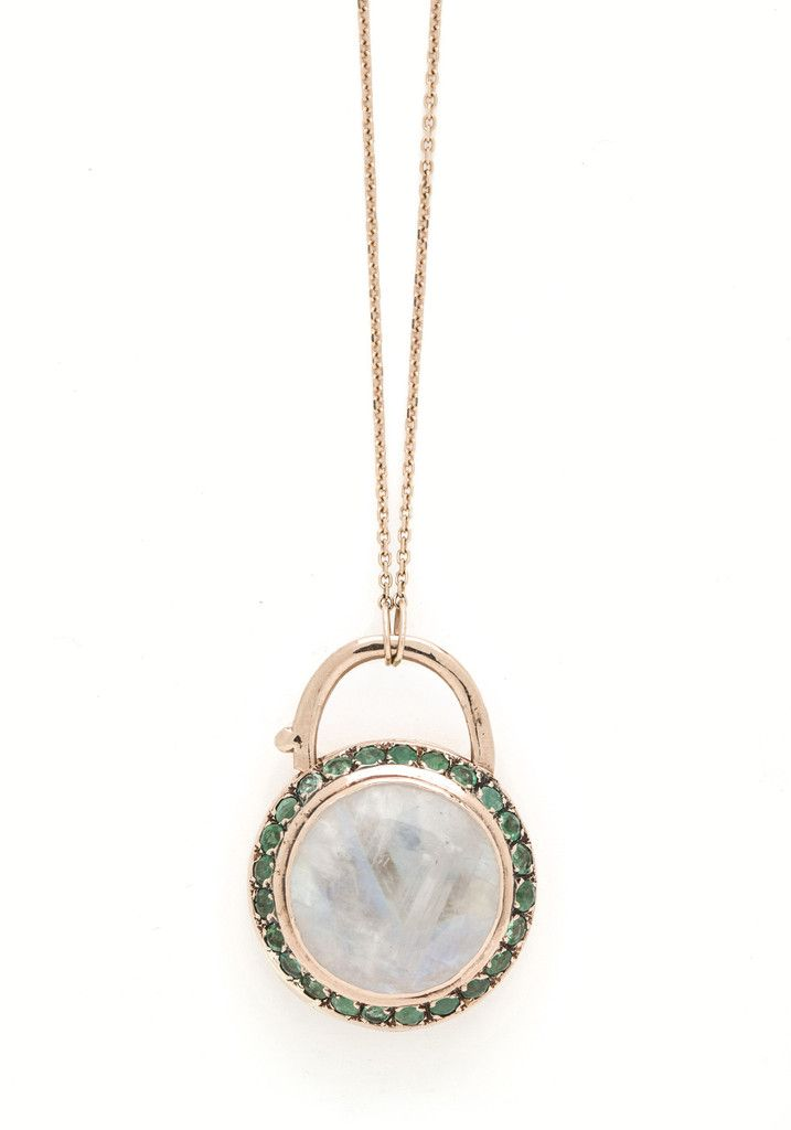 Ring Around the Moon Padlock Necklace - Moonstone with Emeralds