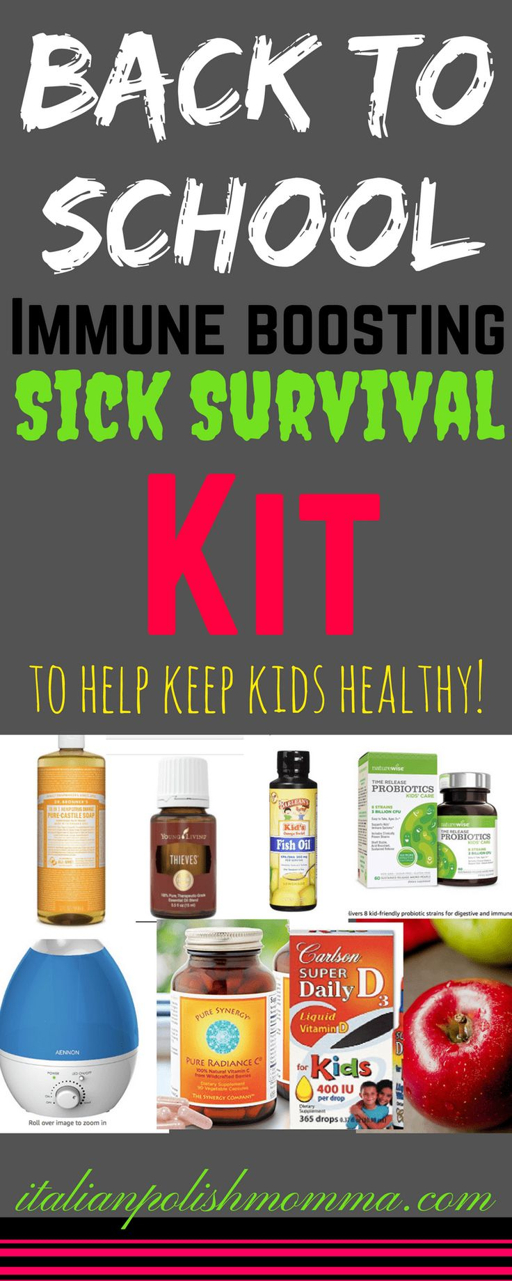 Back to school immune boosting vitamin sick survival kit for kids