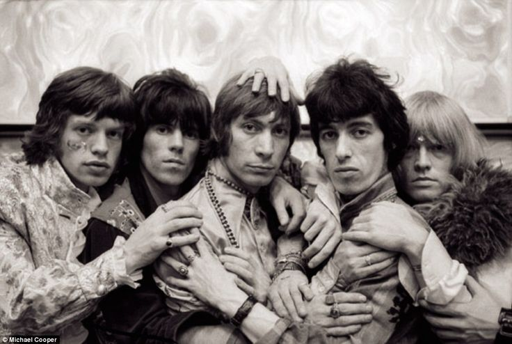 The Rolling Stones pictured in 1968 (from left to right: Mick Jagger, Keith Richards, Charlie Watts, Bill Wyman and Brian Jones). A year earlier photographer Michael Cooper shot the front cover photo for their LP Their Satanic Majesties Request