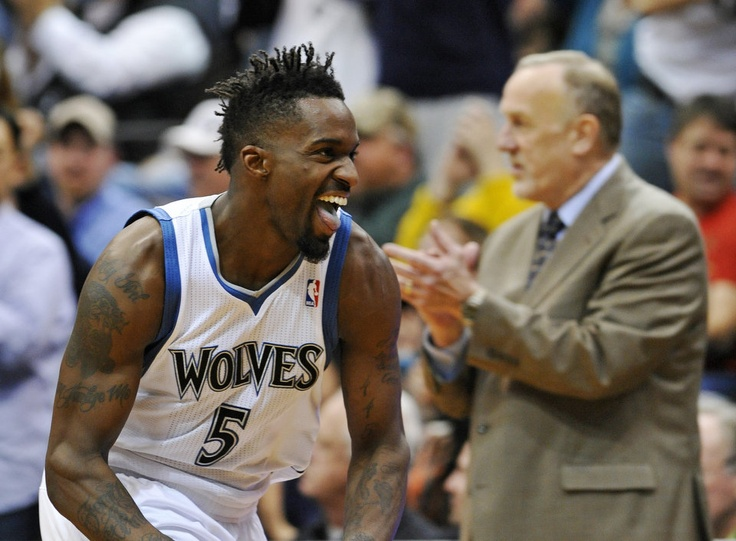 Martell Webster celebrates as the Timberwolves go on to beat Webster's former team, the Blazers, for the second time in five nights.