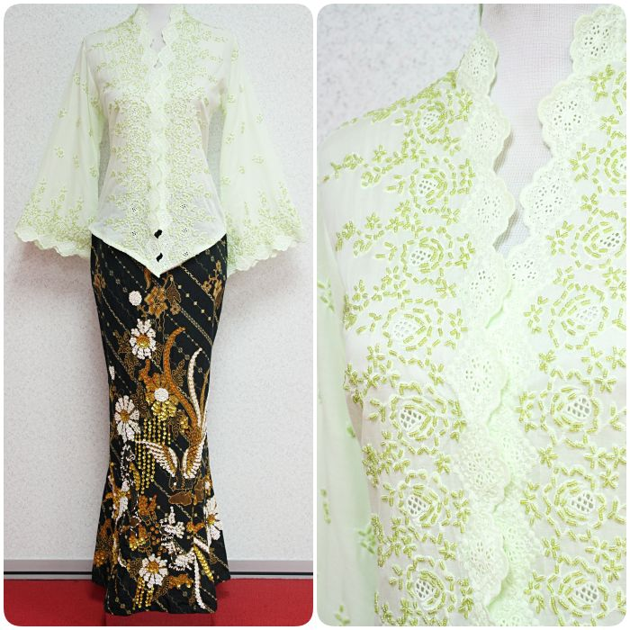 Light green short kebaya with beads+embroidery. Only RM255 inclusive mermaid sequin skirt.
