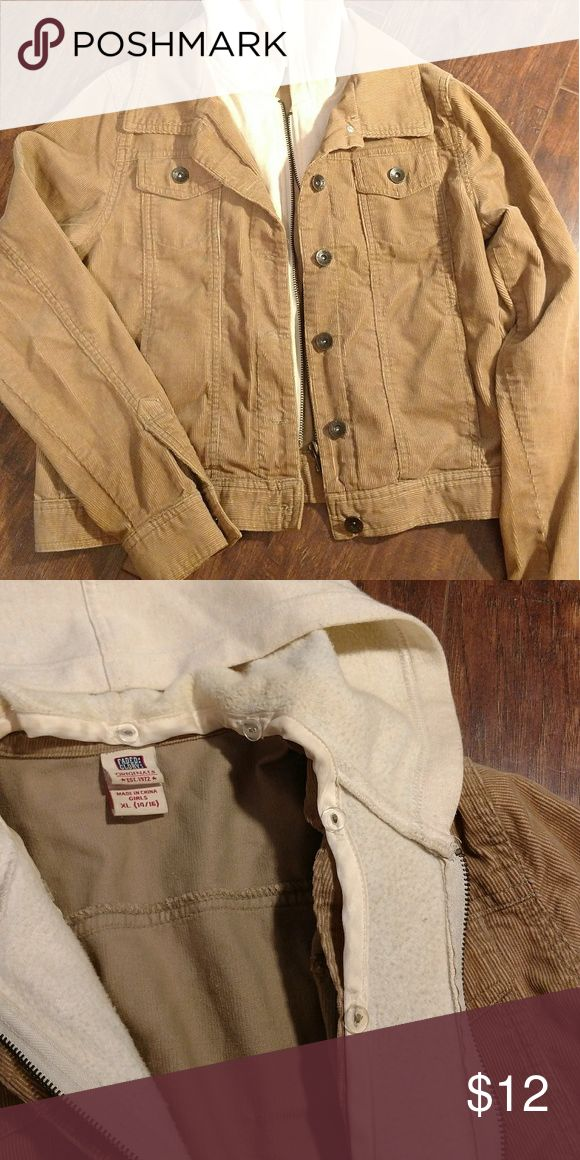 """Cute light jacket Lightweight jacket perfect for cool summer nights. Feels like corduroy, but is 100% cotton.  Hood and zipper part is removable, as pictured.  4 pockets (2 hand and 2 breast).  Very good condition. I'm gentle with my clothes, but fabric seems like it would be durable enough for a child. Size girls' XL (14/16)  Width across shoulders: 15"""" Top of shoulder to sleeve bottom: 23"""" Length: 18"""" Jackets & Coats"""