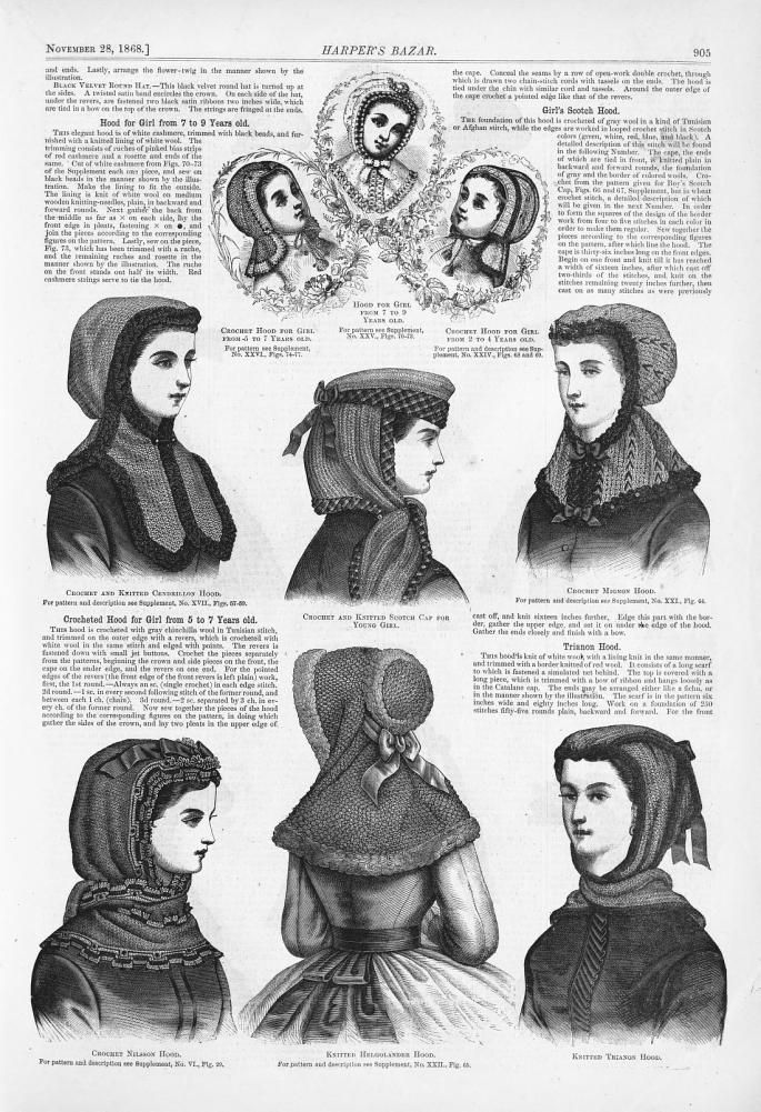 civil war era fashion - knitted hoods -Harper's Bazaar - Google Books
