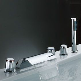 Waterfall Tub Faucet with Hand Shower (Three Handles) T7013