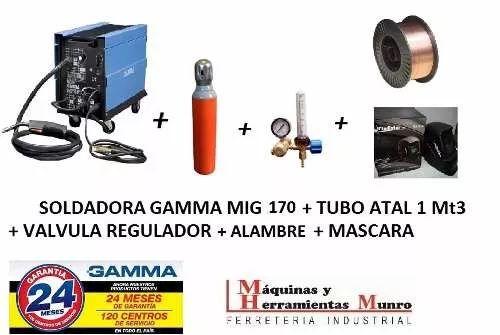 soldadora mig 170 gamma + tubo + regulad + alambre + mascara