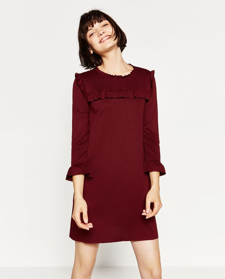 SHOP A/W 16: Cute a-line dress with frills in this season's colour. Wear now with bare legs and with tights/jeans in winter.