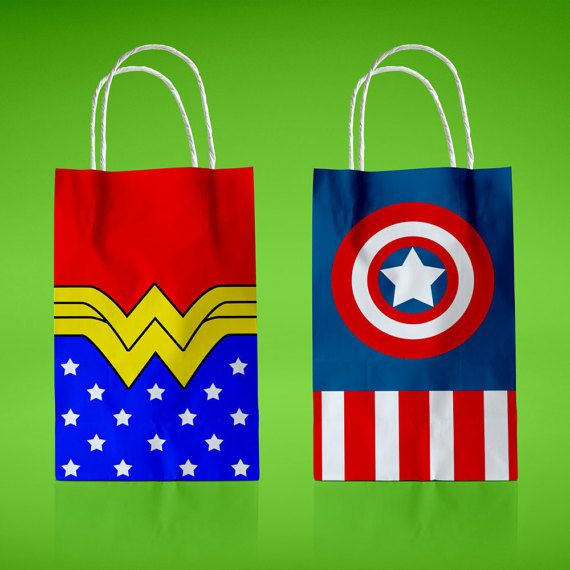 Wonder Woman&Captain America Favor bags Superhero Themed