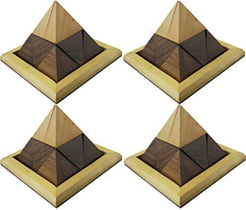 Set of 4  Handmade Wooden Triangular Pyramid Puzzle Game  Indian Puzzle Game for Children and Adults  4 x 4 x 3 -- To view further for this item, visit the image link.