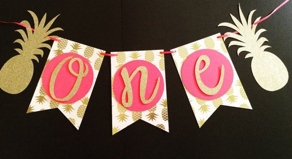 Pineapple First Birthday Highchair Banner by Nostresspartyforless