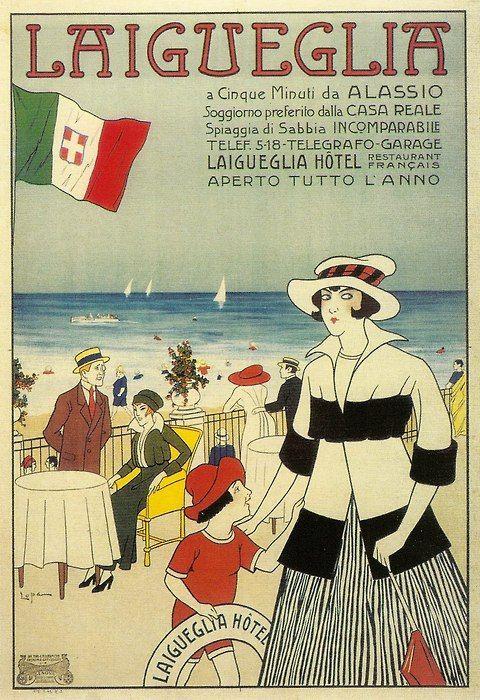 travel vintage poster - Laigueglia, Liguria Riviera  Art Deco - Liberty Style #deco #beach #essenzadiriviera www.varaldocosmetica.it