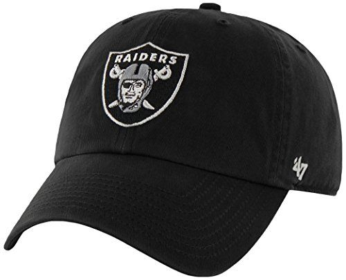 NFL Oakland Raiders Clean Up Adjustable Hat, Black, One Size Fits All Fits All  http://allstarsportsfan.com/product/nfl-47-clean-up-adjustable-hat-one-size-fits-all/?attribute_pa_teamname=oakland-raiders  Adjustable strap closure – one size fits all Made from 100% Cotton Twill; Relaxed Fit Garment washed for softer look & feel