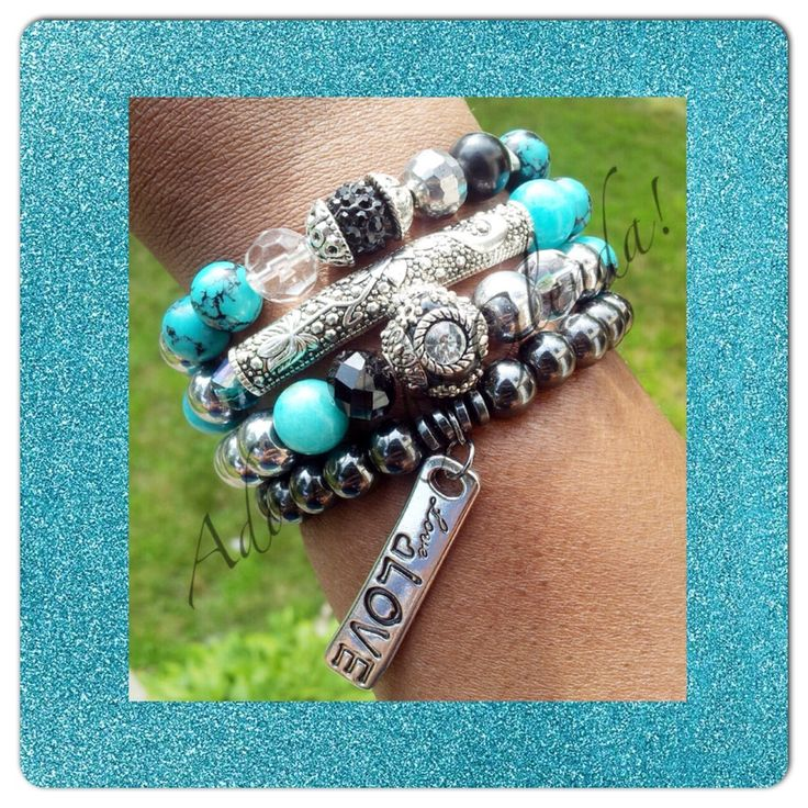 Bohemian styled gemstone stacked bracelet set.   Glass beads, gemstone beads, stacked bracelets, love, black, turquoise, charm bracelets, handmade, jewelry, armcandy, beaded bracelets, wristparty, beads