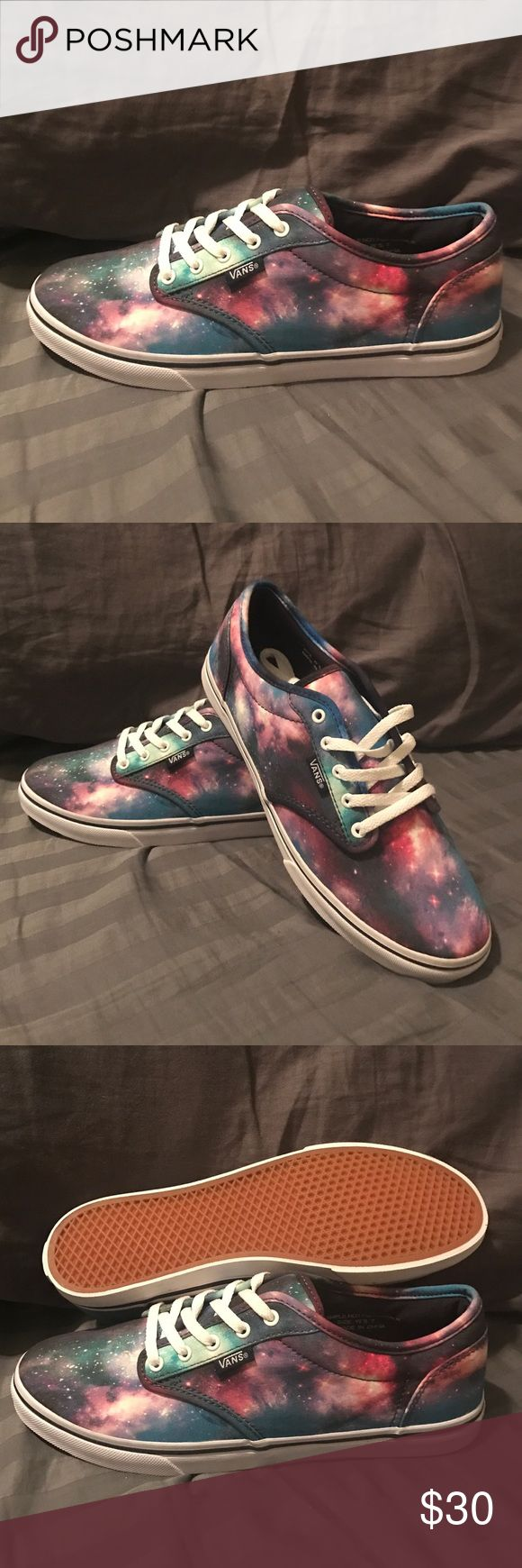 Vans Atwood low Galaxy Print Brand new pair of women's Vans Atwood low. These do mention sample on them, but they fit and are the same exact ones that sell in stores. Vans Shoes Athletic Shoes