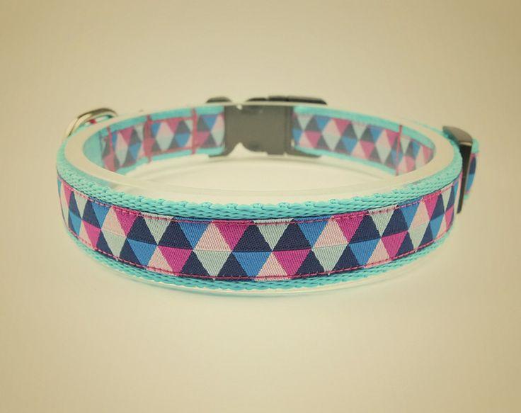 Obroża dla psa Triangle blue pink - OssoDiCane - Obroże dla psów