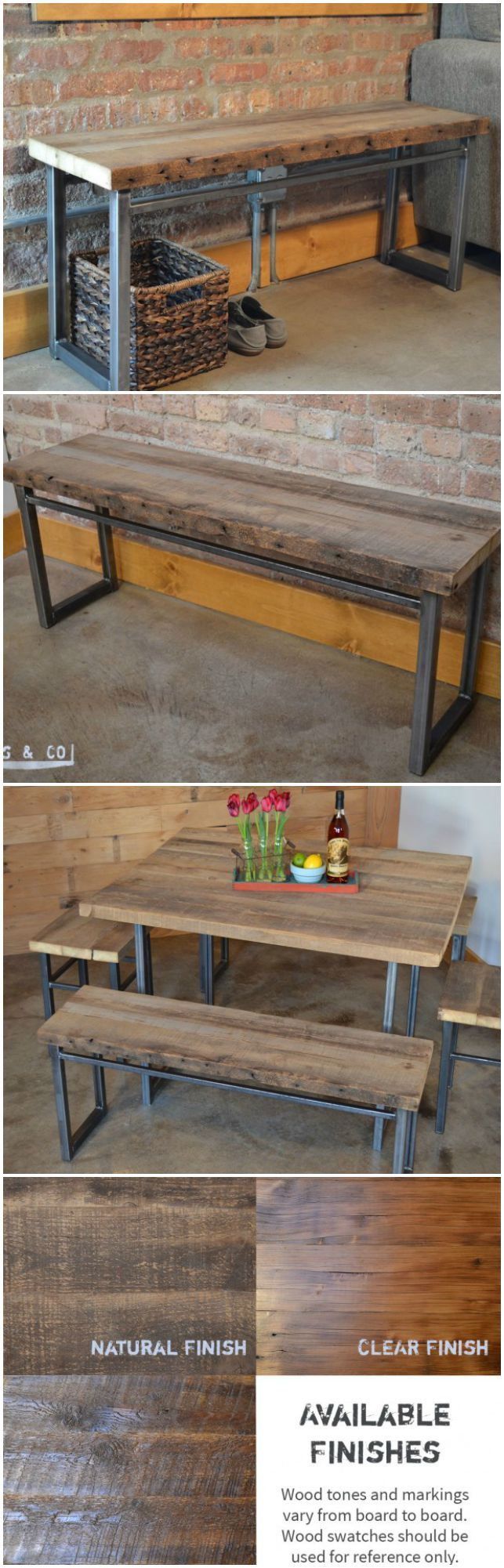"Handcrafted wooden bench with metal legs - 48"" - USA Made furniture - The Emerson Bench is handcrafted from old growth reclaimed wood that was salvaged from an early 19th century barn located in Northern Illinois. Handmade by Wood Stock and Co on aftcra."
